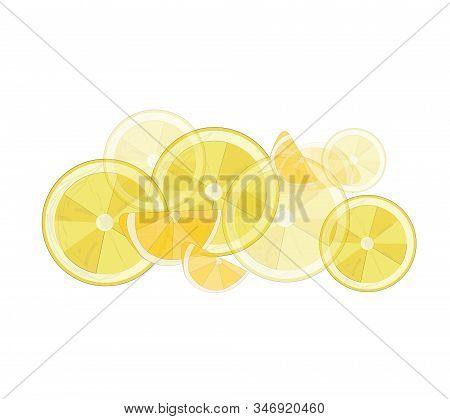 Vector Illustration.yellow Fresh Lemons, Lemon Branches On A White Background.