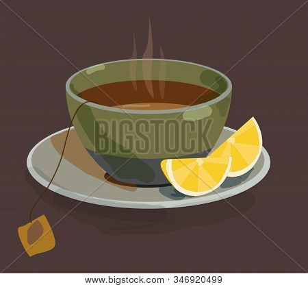 Cup Of Tea With Lemon Isolated On White Vector Illustration