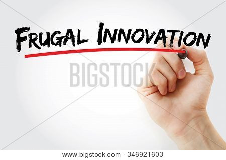 Frugal Innovation Text With Marker, Concept Background