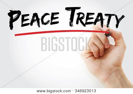 Peace Treaty Text With Marker, Concept Background