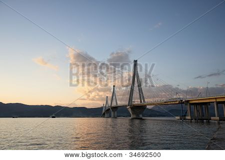 Bridge Crossing Corinth Gulf Strait