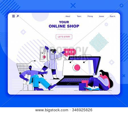 Online Shopping Landing Page Vector Template. Fashion Boutique, Clothes And Garment Store Website He