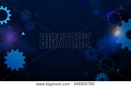 Abstract Gear Wheel Geometric With Technology Hi-tech Futuristic Concept Background