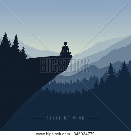 Peace Of Mind Mediating Person On A Cliff With Mountain View Blue Nature Landscape Vector Illustrati