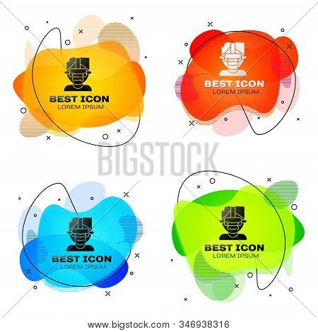 Black Virtual Reality Glasses Icon Isolated On White Background. Stereoscopic 3d Vr Mask. Set Abstra
