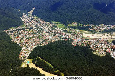 Aerial view of a mountain town