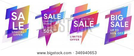 Set Of Colored Stickers And Sale Banners. Flat Geometric Liquid Shapes. Best Offer Sale Banners For