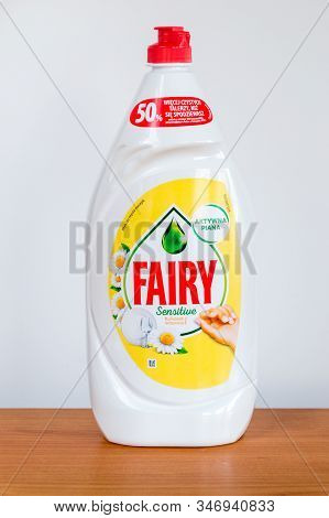 Pruszcz Gdanski, Poland - January 21, 2020: Bottle Of Fairy Sensitive Washing Up Liquid. Fairy Brand