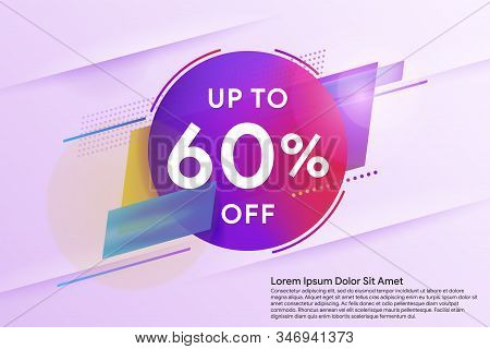 Discount Up To 60% Off. Sale Special Offer Banner. Trendy Minimal Design As Template For Cover, Pres