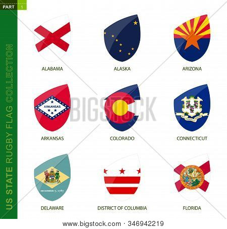 Rugby Flag Collection. Rugby Icon With Flag Of 9 Us States: Alabama, Alaska, Arizona, Arkansas, Colo