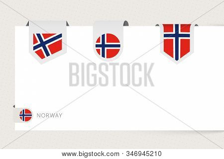 Label Flag Collection Of Norway In Different Shape. Ribbon Flag Template Of Norway Hanging From Pape
