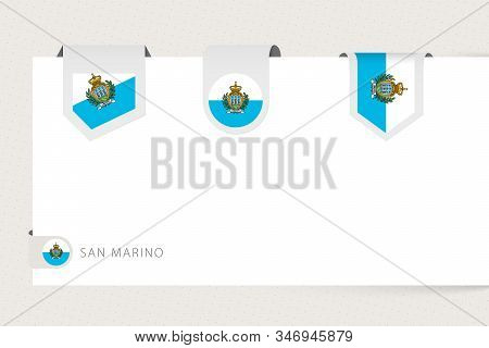 Label Flag Collection Of San Marino In Different Shape. Ribbon Flag Template Of San Marino Hanging F
