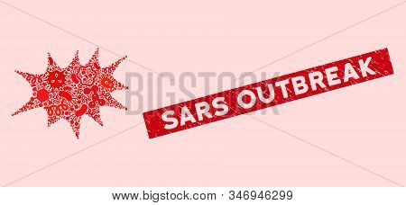 Flu Mosaic Boom Bang Icon And Rectangular Distressed Stamp Seal With Sars Outbreak Phrase. Mosaic Ve