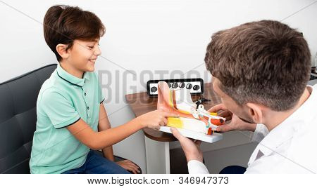 Audiologist Showing A Boy An Eardrum On A Model Of A Human Ear. Hearing Clinic
