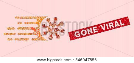 Pandemic Mosaic Gone Viral Icon And Rectangular Rubber Stamp Seal With Gone Viral Caption. Mosaic Ve
