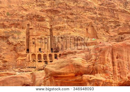 Petra In Jordan. Facade Of Roman Soldiers Tomb So Called Urn Tomb, The Court, S Located In The Side