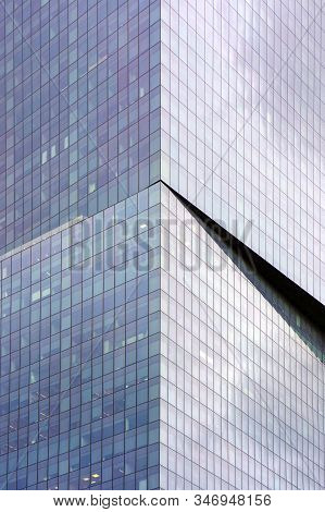 Abstract Architecture. Angle Modern Business Building Skyscraper Blue Glass. Glass Blue Square Windo