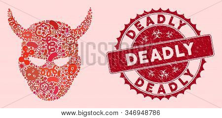 Fever Mosaic Daemon Head Icon And Round Distressed Stamp Watermark With Deadly Phrase. Mosaic Vector