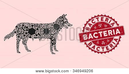 Contagion Mosaic Dog Bitch Icon And Round Rubber Stamp Seal With Bacteria Phrase. Mosaic Vector Is C