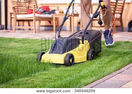 Lawn Mower, Green Grass, Equipment, Mowing, Gardener, Care, Work, Tool, Home, Housekeeper In Work