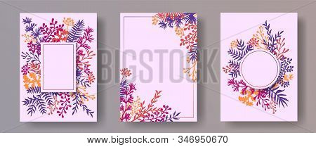Watercolor Herb Twigs, Tree Branches, Leaves Floral Invitation Cards Collection. Herbal Frames Natur