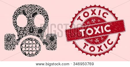 Epidemic Mosaic Gas Mask Icon And Rounded Grunge Stamp Watermark With Toxic Caption. Mosaic Vector I