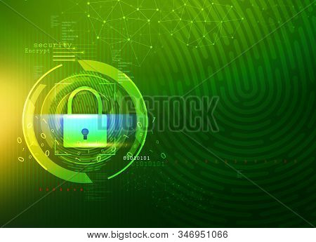 Cyber Security, Network Protection Concept, Bio Metric System, Data Protection, Privacy, Green Color