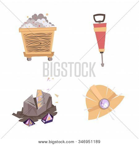 Mining Mineral Color Icons Set. Mining Mineral Color Icons Set. Trolley, Minerals And Tool. Vector I