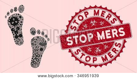 Infectious Mosaic Human Steps Icon And Round Grunge Stamp Seal With Stop Mers Phrase. Mosaic Vector