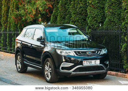 Grodno, Belarus - October 16, 2019: Black Geely Boyue Geely Atlas Car Parking At Street. The Geely B