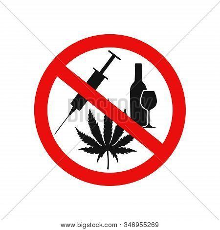 Vector Illstration Of N Drugs And Alcohol Icon. Flat Design. Isolated.