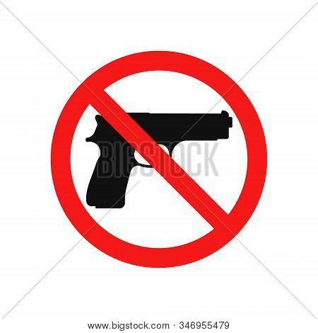 Vector Illstration Of No Gun Icon. Flat Design. Isolated.