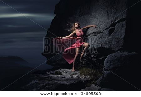 Sexy woman in mountain