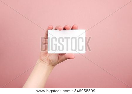 Female Hand Holding White Business Card On Colorful Pink Background. Template, Mockup, Blank For Web
