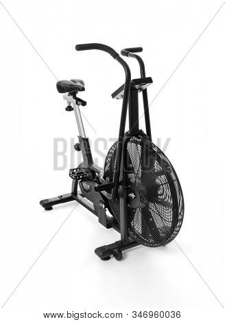 Bike for intense cardio workout at the gym on white background