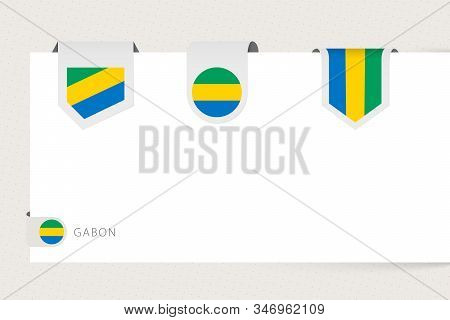 Label Flag Collection Of Gabon In Different Shape. Ribbon Flag Template Of Gabon Hanging From Paper