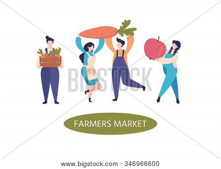 Farmers Characters. Flat Farmers With Fruits, Vegetables. Organic Vegetable Crops Cultivation. Harve