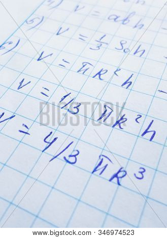 The Pi Number And Formulas Are Written In A Notebook With A Pen Or Marker. Pi Day Number Concept. Pi