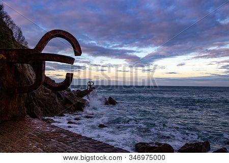 Comb Of The Wind Or Peine Del Viento In The Coastline Or Seaside Of Donostia San Sebastian Spain Mad