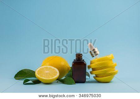 Citrus Fruit Essential Oil. Vitamin C Serum, Beauty Care. Organic Bio Cosmetics With Vitamin C. Vita
