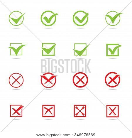 Set Of Checkmark Icon. Red And Green Checkmarks With Checkbox, Election And Voting Concept Symbol