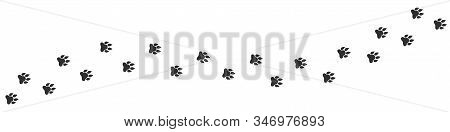 Footpath Trail Of Lion. Hunting Concept, Vector