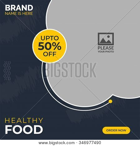Food Instagram Social Media Post Template for Restaurant. Food & culinary instagram Post promotion template Premium Vector. Instagram story template collection. Social media design. Delicious Food Social media post Design template for vector illustration