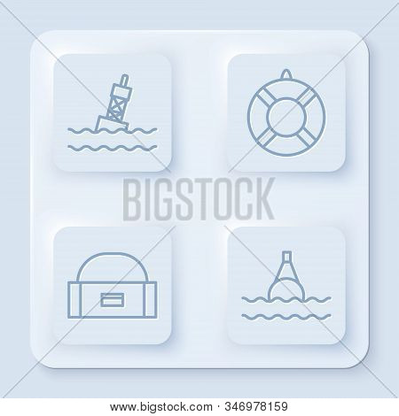 Set Line Floating Buoy On The Sea, Lifebuoy, Case Or Box Container For Wobbler And Floating Buoy On