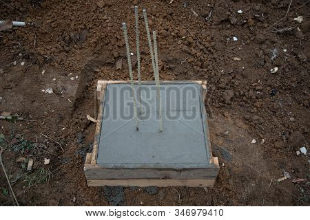 The Pouring Of The Concrete Foundation Of The House. Formwork For Building A House. Self-constructio