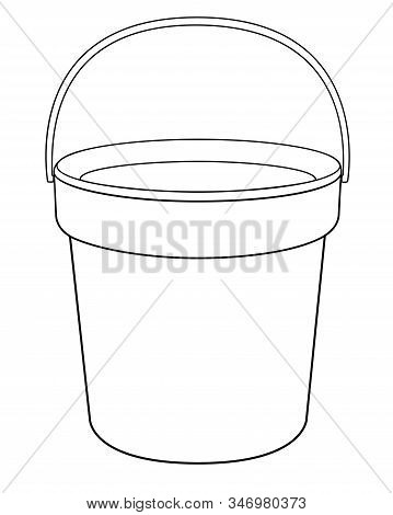 Bucket - A Linear Vector Drawing For Coloring. Plastic Or Metal Bucket - Vector Template For Colorin