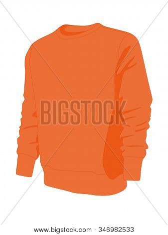 Pullover Orange Realistic Vector Illustration Isolated No Background