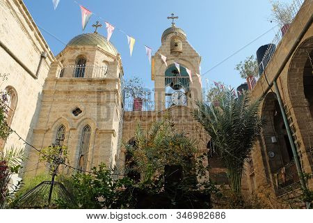 Deir Hajla, Israel - January 11, 2020: Courtyard Of The Orthodoxy Christianity  Monastery Of Gerasim