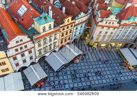 Top View Of Prague Old Town (stare Mesto) Historical City Centre. Row Of Buildings With Colorful Fac