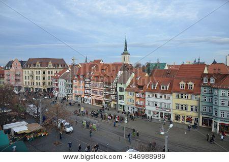 Erfurt, Germany 12.10.2016: Panoramic Aerial View Of Erfurt